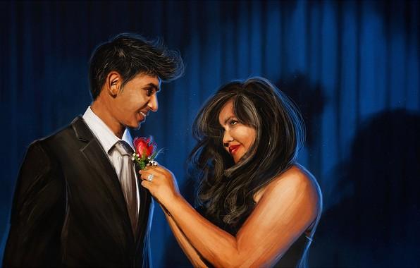 Picture girl, pair, guy, red rose, Digital Art, john aslarona, Wallpaper drawing