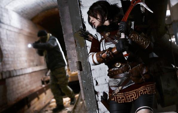 Picture Tomb Raider, girl, gun, weapon, woman, cosplay, brunette, Lara Croft, rifle, arrow, ice axe