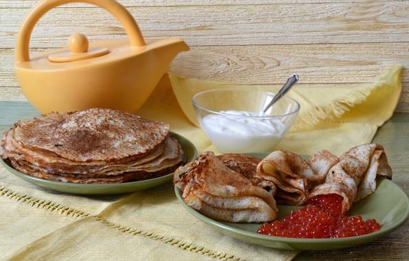 Picture pancakes, caviar, sour cream