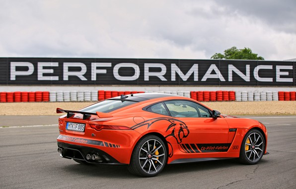 Picture the sky, asphalt, orange, track, Jaguar, the fence, 2016, F-Type SVR Ring-Cat, 575 HP