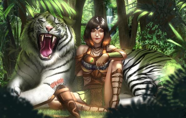Picture forest, girl, tiger, jungle, art, white tiger, Kiera