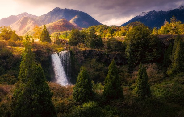 Picture autumn, light, trees, mountains, nature, waterfall, National Park