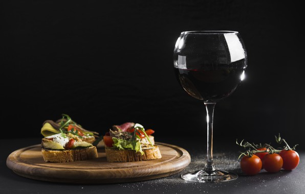Picture wine, red, glass, bread, red, wine, sandwiches, cutting Board