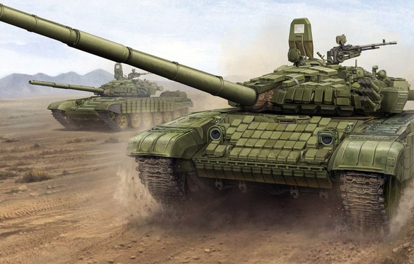 """Picture Soviet main battle tank, Uralvagonzavod, T-72B1, the version with night sight TPN-3-49 """"Crystal-PA"""""""
