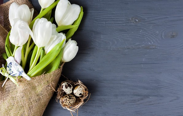 Picture holiday, spring, Easter, tulips, white, wood, flowers, tulips, spring, Easter, Holiday, bouquet, decoration
