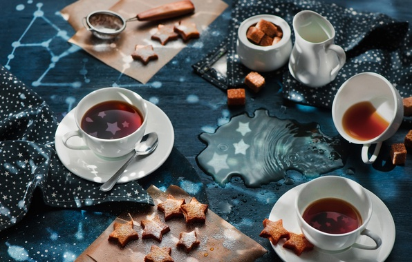 Picture stars, tea, Cup, cookies