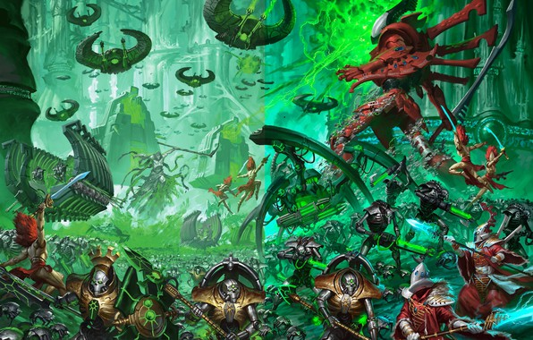 Picture army, eldar, battle, necrons, Warhammer 40 000, banshees, monolith, C'tan, ghost knight