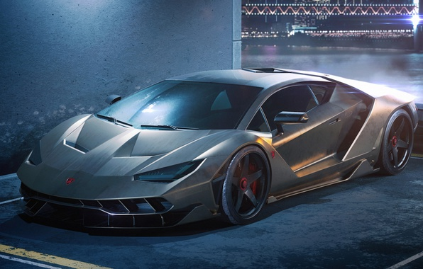 Photo wallpaper Italian, Centennial, Silver, Front, Lamborghini, Superar
