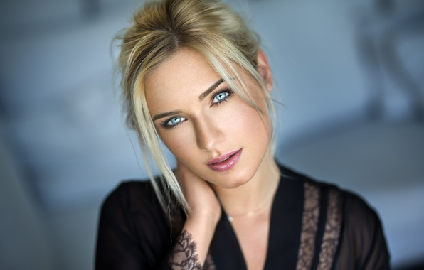 Picture girl, photo, photographer, blue eyes, model, beauty, lips, face, blonde, portrait, mouth, lipstick, depth of …