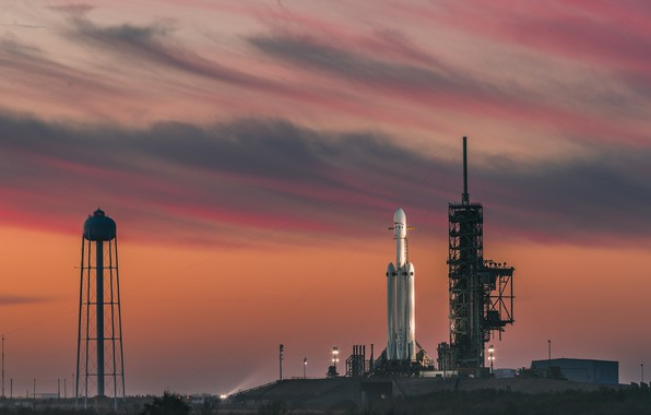 Picture space, USA, twilight, sky, sunset, clouds, evening, Florida, rocket, SpaceX, Cape Canaveral, launch pads, Falcon …