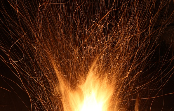 Picture heat, fire, flame, holiday, new year, the evening, sparks, fire, fireplace, macro, burn