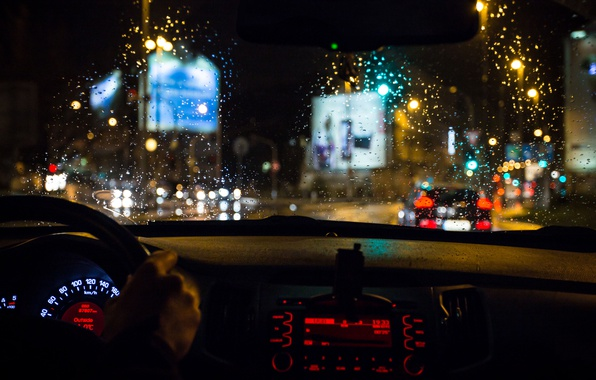 Picture glass, drops, macro, light, movement, rain, excerpt, blur, devices, backlight, the wheel, traffic, car, salon, …