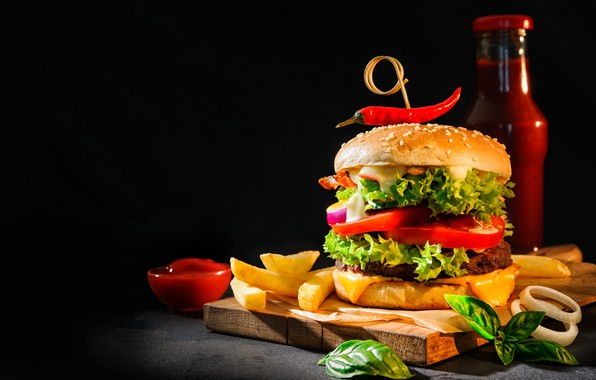Picture food, hamburger, ketchup, French fries, cutting Board