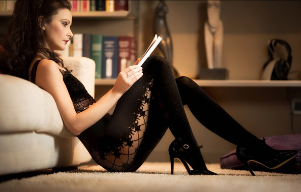 Picture girl, room, sofa, carpet, makeup, brunette, shoes, profile, tights, top, journal, curls, shelves, Paolo Carlo …