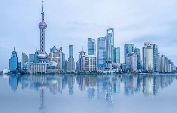 Picture water, reflection, river, China, building, China, Shanghai, Shanghai, skyscrapers, Pudong, the Huangpu river, Huangpu River, …