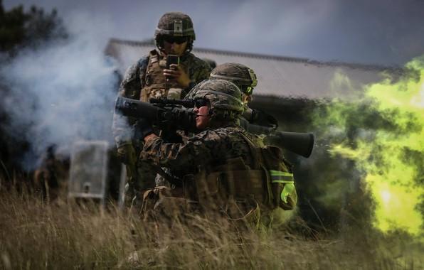 Picture shot, soldiers, anti-tank hand grenade, Carl Gustav