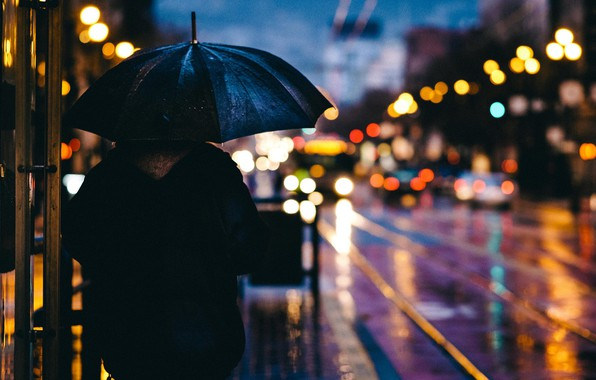 Picture machine, the city, lights, rain, street, the evening, umbrella, Bloor, bokeh