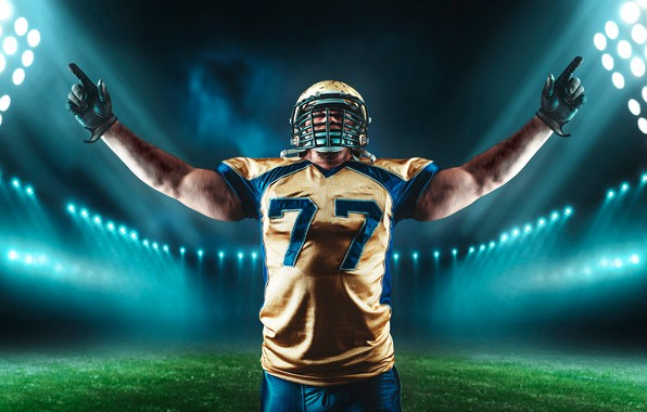 Picture field, grass, pose, sport, t-shirt, gloves, helmet, athlete, American football, male, uniform, stadium, floodlight, player