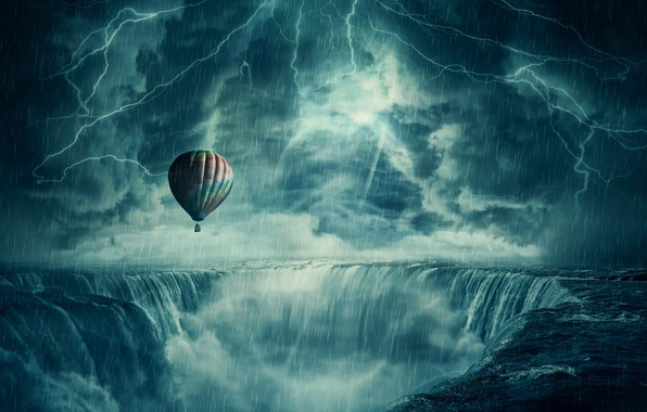 Picture the storm, balloon, rain, lightning