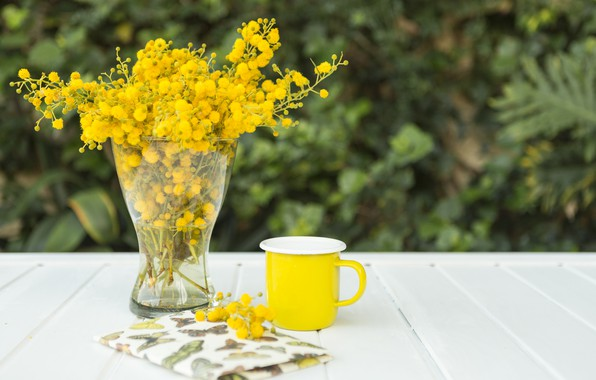 Picture flowers, bouquet, yellow, Cup, Notepad, vase, wood, notebook, flowers, composition