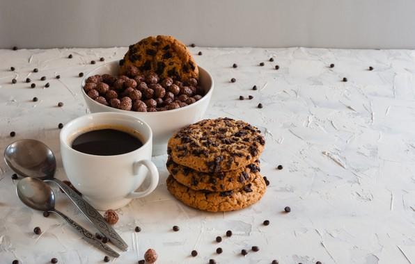 Picture balls, coffee, Breakfast, cookies, honey, spoon