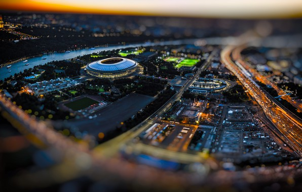 "Picture The evening, The city, Sport, Football, Russia, Stadium, Luzhniki, The Main Stadium, Stadium ""Luzhniki"""