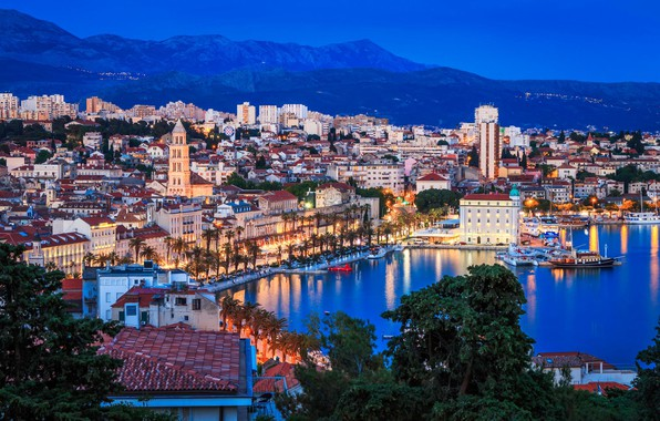 Picture sea, the city, lights, tower, home, the evening, panorama, Croatia, Split