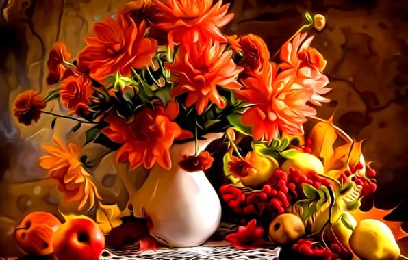 Picture leaves, flowers, rendering, paint, bouquet, pitcher, fruit, painting, autumn still life