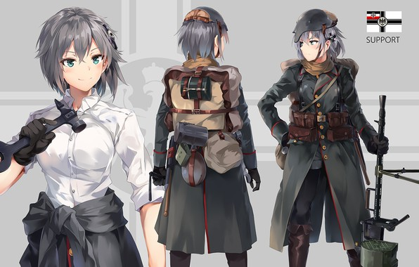 Picture girl, anime, soldiers