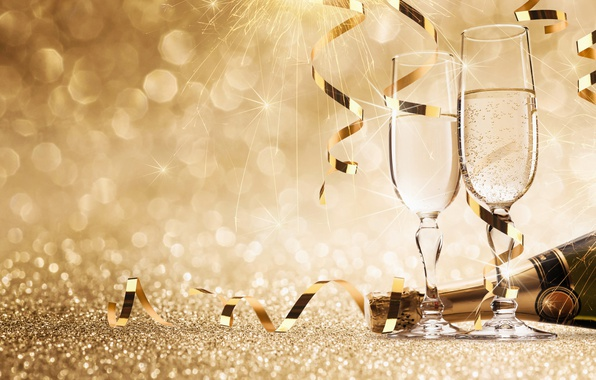 Picture bottle, New Year, glasses, new year, champagne, happy, fireworks, glasses, champagne, 2017