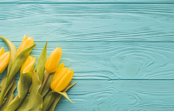 Picture flowers, bouquet, yellow, tulips, yellow, wood, tulips