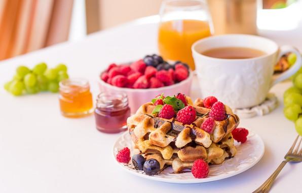 Picture berries, raspberry, tea, chocolate, Breakfast, blueberries, juice, grapes, waffles, jam