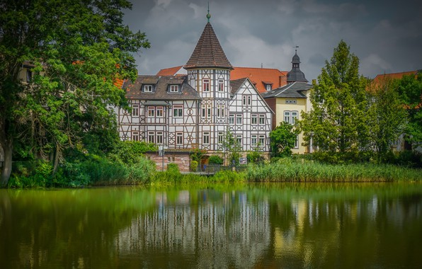 Picture trees, house, river, the building, Germany, Germany, Thuringia, Thuringia, Bad Salzungen, Bad Salzungen, Werra River, …