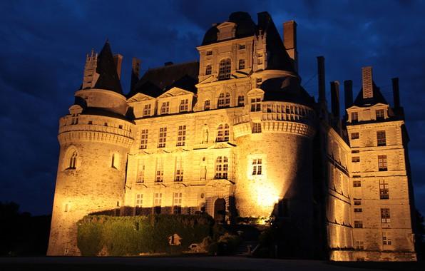 Picture night, castle, France, lighting, Chateau de Brissac