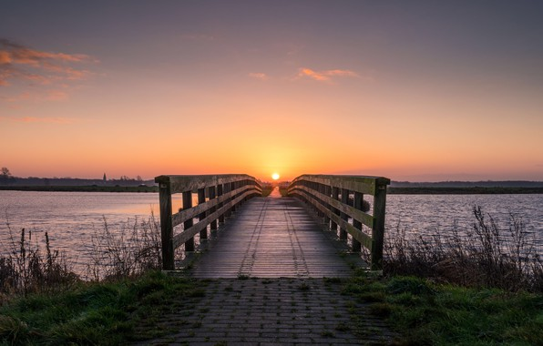 Picture summer, the sky, grass, the sun, clouds, sunset, bridge, river, dawn, shore, spring, horizon, the …