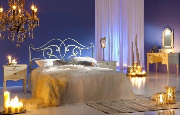 Picture design, fire, bed, pillow, candles, mirror, chandelier, bed, curtains, bedroom