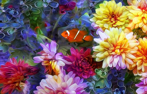 Picture line, flowers, collage, fish, petals
