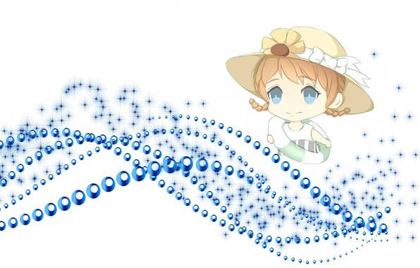 Picture sea, summer, anime, art, girl