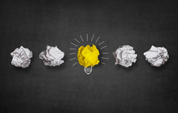 Picture Minimalism, Figure, Paper, Light bulb