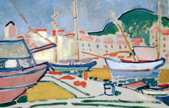 Picture landscape, boat, home, Port, yacht, pier, Fauvism, Andre Derain, Andre Derain