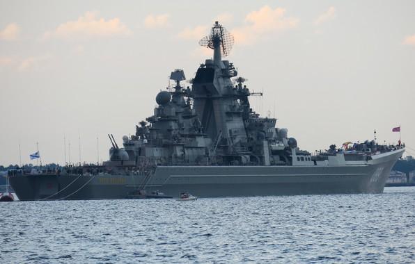 Picture cruiser, atomic, rocket, Peter the great, Kronstadt