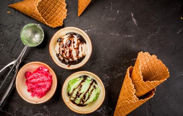 Picture ice cream, horn, dessert, sauce, wafer, ice cream