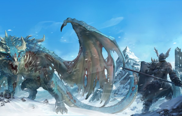 Picture fantasy, Dragon, tower, armor, weapon, wings, tail, mountains, snow, ruins, castle, digital art, artwork, warrior, …