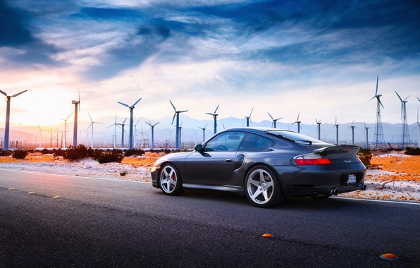 Picture road, the sun, light, desert, Porsche, photographer, drives, Larry Chen, 996 Turbo