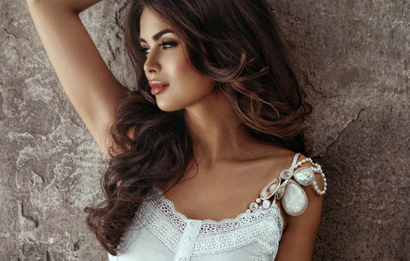 Wallpaper Decoration Pose Wall Portrait Makeup Hairstyle Brown