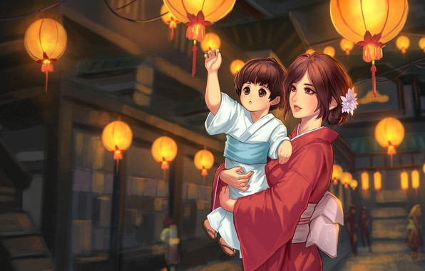Picture holiday, anime, lanterns, mom, daughter, Vu Nguyen, A Night in Kugane, obon, tetin