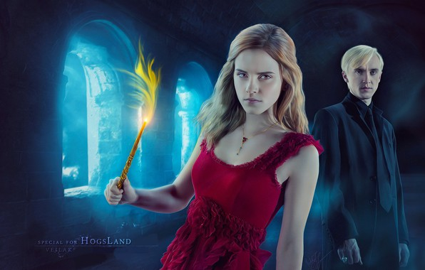 Picture magic, Harry Potter, wand, Hermione Granger, Draco Malfoy