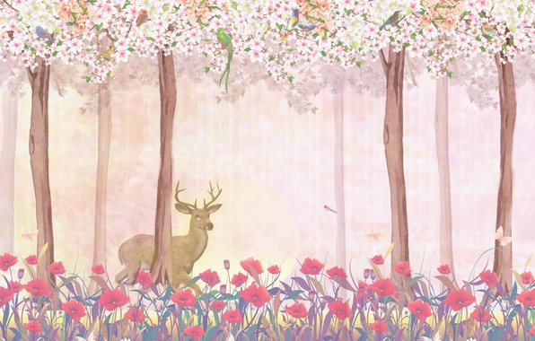 Picture FOREST, FIGURE, PAINTING, DEER