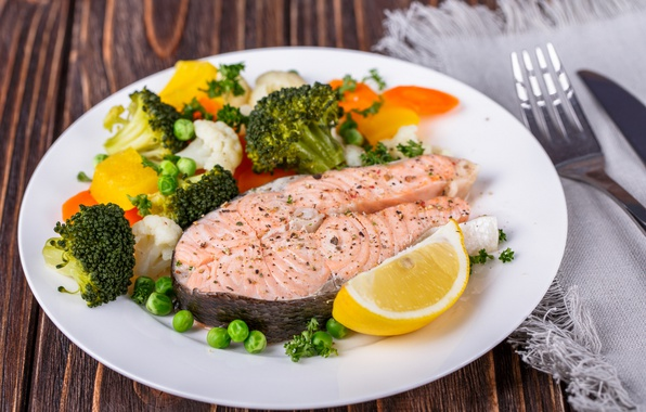 Picture lemon, fish, vegetables, salmon