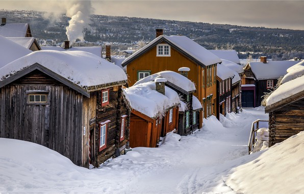 Picture winter, village, Norway
